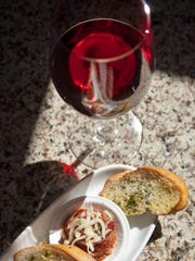 Wine and an appetizer from Betty's Nosh in Glendale.