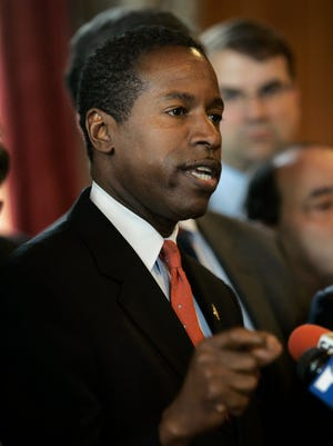 Malcom A. Smith, New York Senate Democratic leader, speaks to reporters during a news conference at the state Capitol  in Albany, N.Y.  following the resignation of Gov. Eliot Spitzer Wednesday, March 12, 2008  (AP Photo/Mary Altaffer)