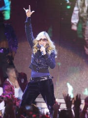 Madonna performs in the Sahara Tent at the 2006 Coachella