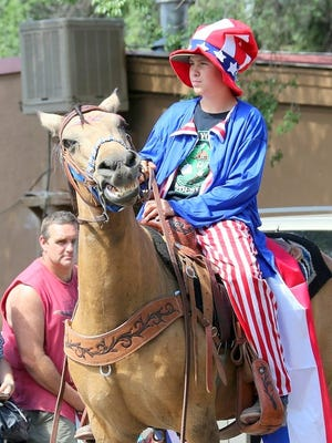 This steed was horsing around a bit in the parade.