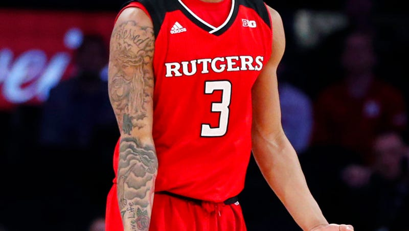 428f7c2e917a Rutgers guard Corey Sanders (3) gestures after scoring a 3-pointer during  the second half of the team s NCAA college basketball game against Minnesota  in ...