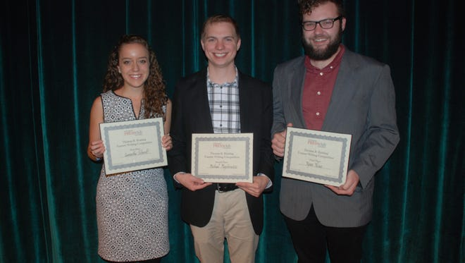 Here are the winners of the 28th annual Thomas R. Keating Competition, sponsored by the Indianapolis Press Club Foundation. Pictured (left to right) are Samantha Schmidt of Indiana University, first place; Michael Majchrowicz of Indiana University, second place; and Ryan Howe of Ball State University, third place.