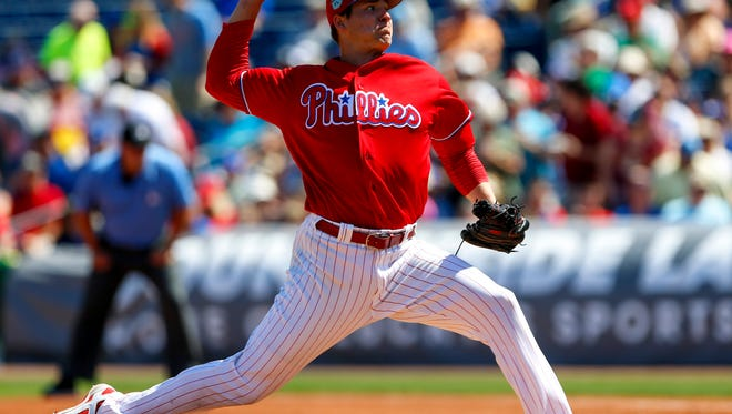 Philadelphia Phillies starting pitcher Jerad Eickhoff throws a pitch in the first inning against the Toronto Blue Jays Thursday at Spectrum Field.