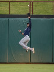 Tampa Bay Rays center fielder Kevin Kiermaier (39) catches a fly ball hit byTexas Rangers center fielder Delino DeShields during the second inning at Globe Life Park in Arlington on Aug. 15, 2015.