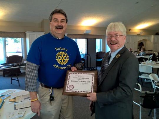 Johnson City Rotary Club President Rocky Martinez, left, with Johnson City Mayor Greg Deemie