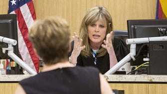 Judge Dawn Bergin listens to Glendale's outside attorney Cynthia Ricketts during the hearing for Arizona Coyotes owner IceArizona vs. City of Glendale at Maricopa County Superior Court on June 29, 2015.