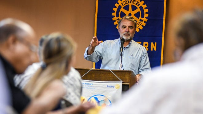 Activist Tim Rohr talks about the sexual abuse cases pending within the local Catholic community as he addresses Rotary Club of Northern Guam members during their weekly luncheon at the Hilton Guam Resort & Spa in Tumon on Wednesday, Feb. 7, 2018.