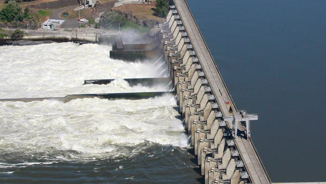 In this June 3, 2011 file photo, the Dalles Dam on the the Columbia River, is shown in The Dalles, Ore.