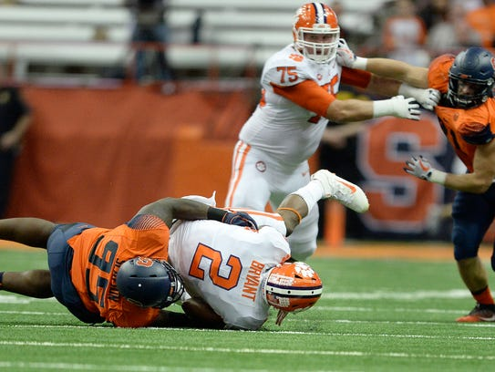 Clemson quarterback Kelly Bryant (2) is sacked by Syracuse