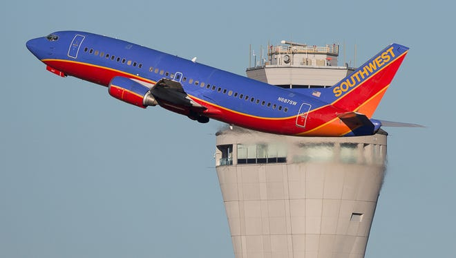 This file photo from November 2015 shows a Southwest Airlines Boeing 737-300 taking off from Seattle-Tacoma International.