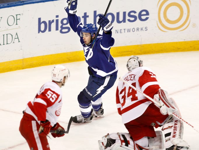 Tampa Bay Lightning's Cedric Paquette celebrates his