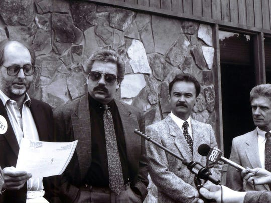 The Statler Brothers announcing April 25, 1990, that they will end the annual Happy Birthday, U.S.A. celebration in Gypsy Hill Park at the conclusion of the 1994 concert. The photo was taken at the Texas Steakhouse on Richmond Road. The Statlers provided the free concert for 25 years as a way to benefit local charities. Pictured, from left to right, are Don Reid, Harold Reid, Jimmy Fortune and Phil Balsley.