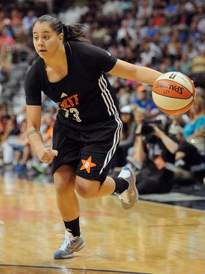 East's Shoni Schimmel, of the Atlanta Dream, during the first half of the WNBA All-Star basketball game, Saturday, July 25, 2015, in Uncasville, Conn. (AP Photo/Jessica Hill)