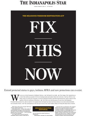 From an editorial on the front page of The Indianapolis Star for Tuesday, March 31, 2015.