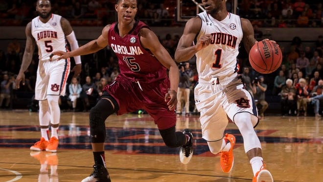 Auburn guard Kareem Canty finishes with 21 points but the Tigers fall to No. 22 South Carolina 81-69 on Jan. 5, 2016 in Auburn Arena.