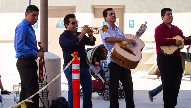 Paul Lomeli's Mariachi Band performing at the Gallilee Center, Mecca.
