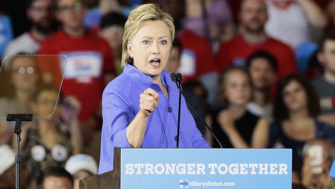 Hillary Clinton speaks to supporters at Union Terminal June 29.
