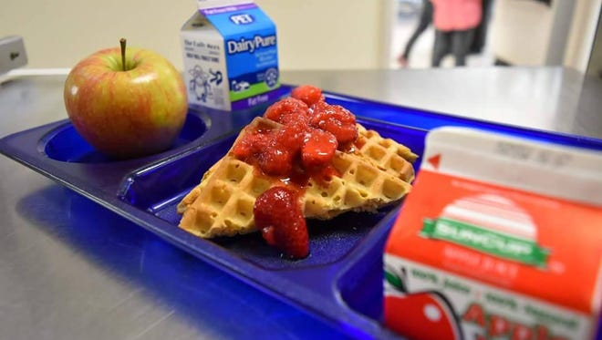 An example of free breakfast tray that will be offered to all Greenville County students in the 2016-2017 school year.