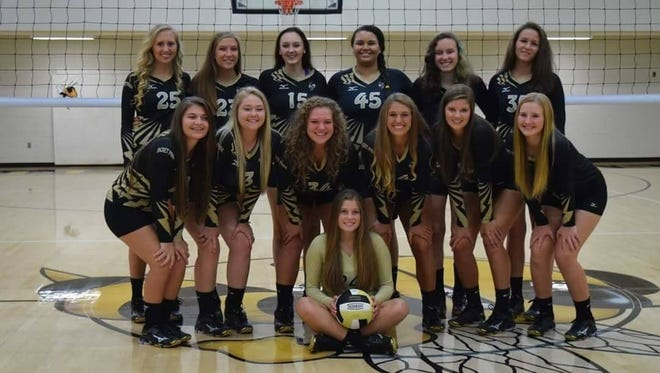 The Hayesville volleyball team is 15-0 this season. Players are Emily Thurmond (seated). Front row, left to right: Tori Combs, Kaci Fields, Lindsey Davis, Maddie Payne, Lexie Patterson and MaKayla Anderson.   Back row, left to right: Savanna Annis, Whitney Baldwin, Meredith Reynolds, Kimonta Lloyd,  Gabby Seibert and Megan Woody.