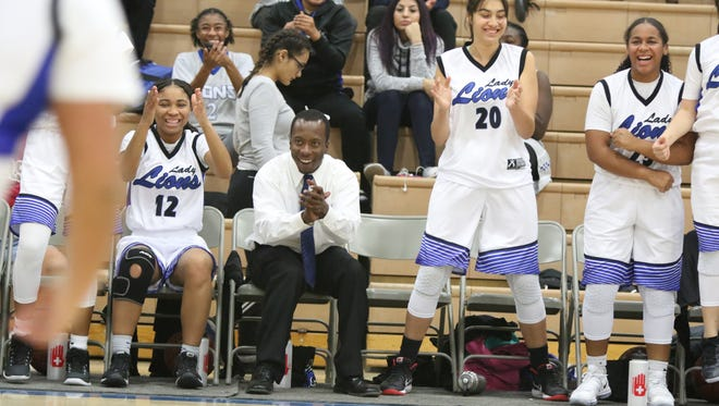 Cathedral City girls basketball host Perris High in Cathedral City on Thursday, December 7, 2017.