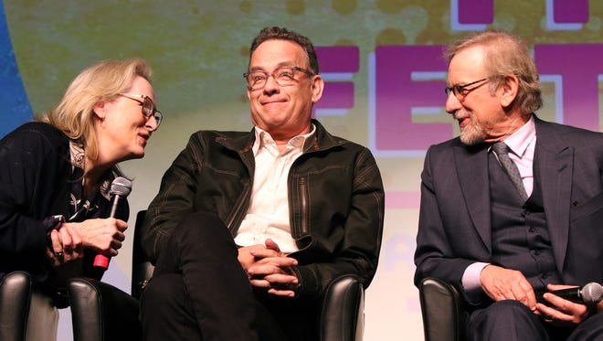 Actors Meryl Streep, Tom Hanks and director Steven Spielberg participate in a panel discussion prior to the screening of The Post at the Palm Springs International Film Festival in Palm Springs on Thursday, January 4, 2018.