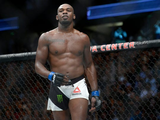 July 29, 2017; Anaheim, CA, USA; Jon Jones reacts following his TKO victory against Daniel Cormier  during UFC 214 at Honda Center. Mandatory Credit: Gary A. Vasquez-USA TODAY Sports usp