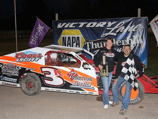Todd Dart celebrates in Victory Lane at Thurnderhill Raceway in Sturgeon Bay after his 50th career feature race win in the IMCA Modified class at the track, tying the record held by Charlie Kroll. Dart broke the record two weeks later and ended the season with 55 wins in his career at Thunderhill, eight for the season and his eighth track championship.