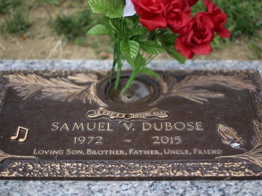 The grave marker of Samuel DuBose at Landmark Memorial Garden in Evendale.