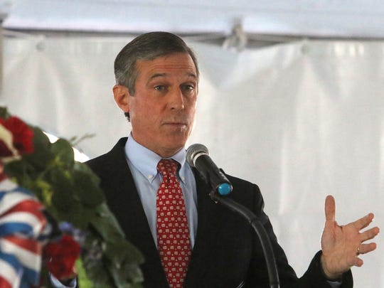 Delaware Gov. John Carney was one of the speakers that honored veterans from all branches during the Veterans Day Ceremony held Saturday at Memorial Bridge Plaza in New Castle.