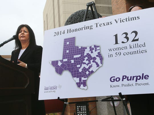 Gloria Terry, chief executive officer of the Texas Council on Family Violence, spoke during a news conference Monday outside the El Paso County Courthouse. Terry spoke about the 132 women who died in 2014 in Texas as a result of domestic violence. El Paso County recorded 5 deaths. The counties which are in white are locations where deaths resulting from domestic violence occurred. A Justice Walk which ended at City Hall followed the news conference.