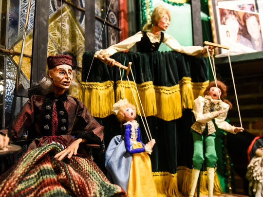 Marionettes of John Durang, the first American born actor who was born in Lancaster, from a show the Lancaster Marionette Theatre produced at the newly renovated and renamed Lancaster Marionette Theatre on Water St. in Lancaster on Thursday Jan. 28, 2016.