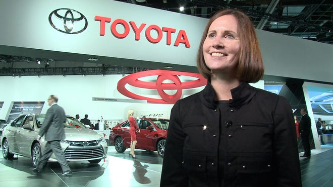 Julie Hamp was named on March 4, 2015, as the first female senior executive for Toyota, marking a milestone in the automaker's nearly 80-year history. Hamp is shown at the North American International Auto Show in January.