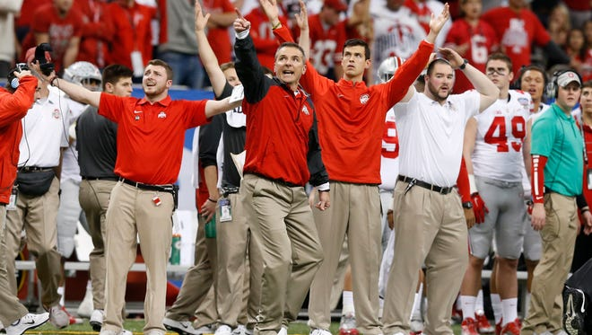 Jan 1, 2015; New Orleans, LA, USA; Ohio State Buckeyes head coach Urban Meyer reacts during the fourth quarter against the Alabama Crimson Tide in the 2015 Sugar Bowl at Mercedes-Benz Superdome. Mandatory Credit: Matthew Emmons-USA TODAY Sports