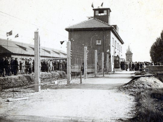 Prisoners at the concentration camp at Dachau, photographed