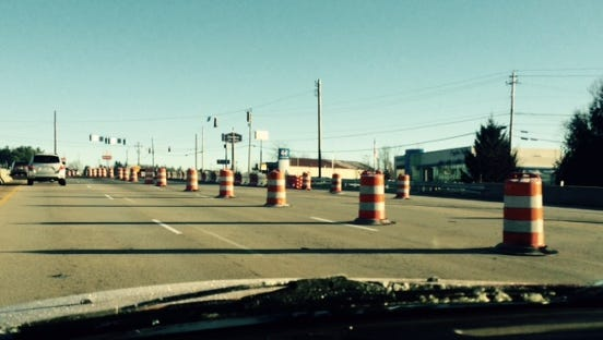 "The new ""Diverging Diamond"" pattern at the Airport Road/Interstate 26 exchange is about a year from completion."