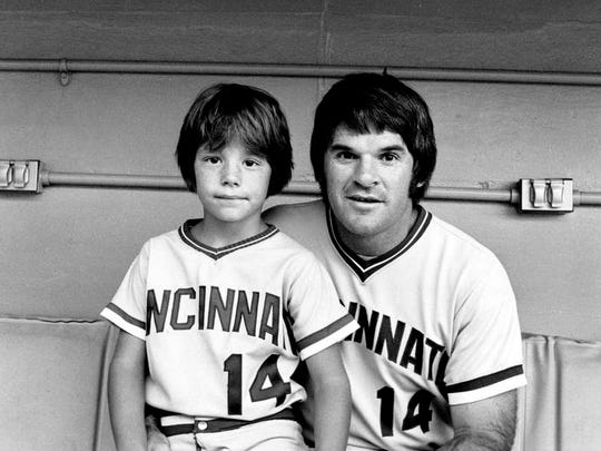 Little shaver: Pete starred in his fourth Aqua Velva TV commercial in five years, this time with son Pete Rose Jr., in 1980.