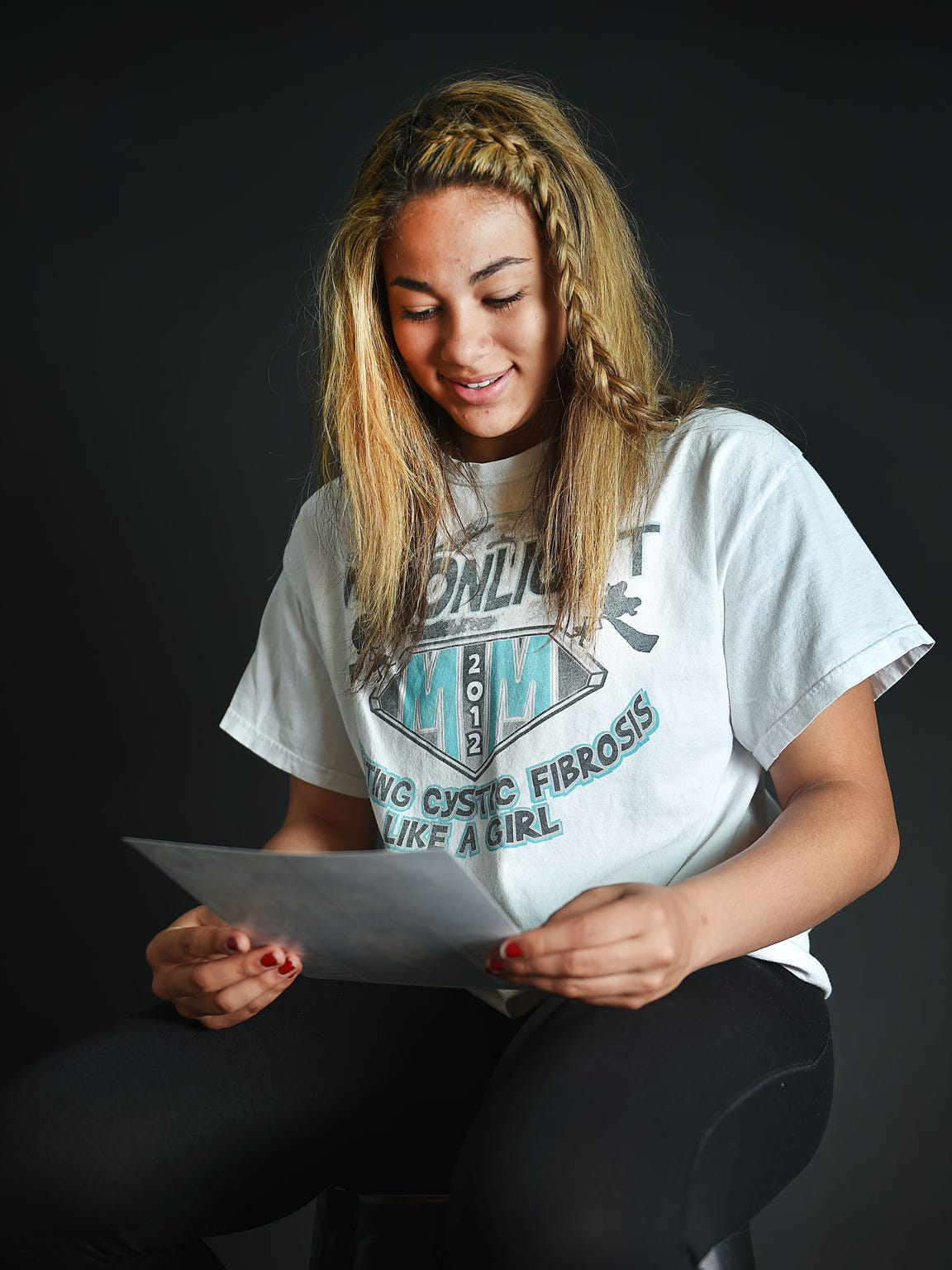 RC Stevens' Kyah Watson talks about her mom, Carla Allard-Watson, Friday, May 4, in Sioux Falls.