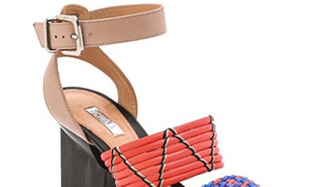 """Schutz """"Fidji"""" woven-band sandals, $260, www.avenuek.com."""