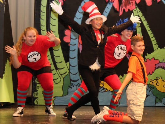 """Members of the """"Seussical Jr."""" cast include Delaney Tabbert as The Cat in the Hat, Kade Ebert as JoJo, Mindi Klaus as Thing 1, and Katie Richards as Thing 2. The show runs Saturday and Sunday at River Valley High School's auditorium."""