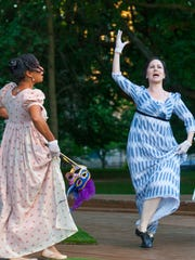 "Alisha Espinosa and Abigail Bailey Maupin in a previous Kentucky Shakespeare's production of ""Much Ado About Nothing."""