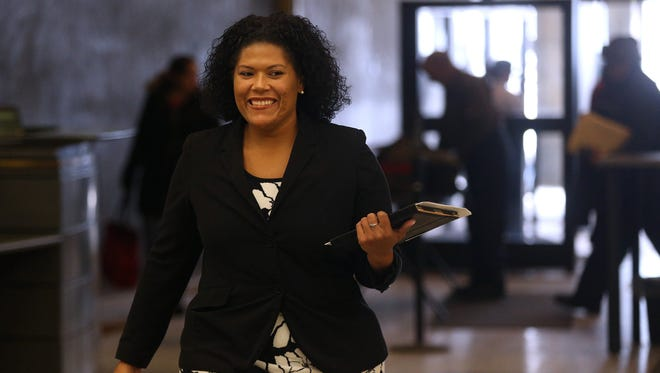 Judge Leticia Astacio walks through security and metal detectors as she enters City Court on Feb. 3, 2017.