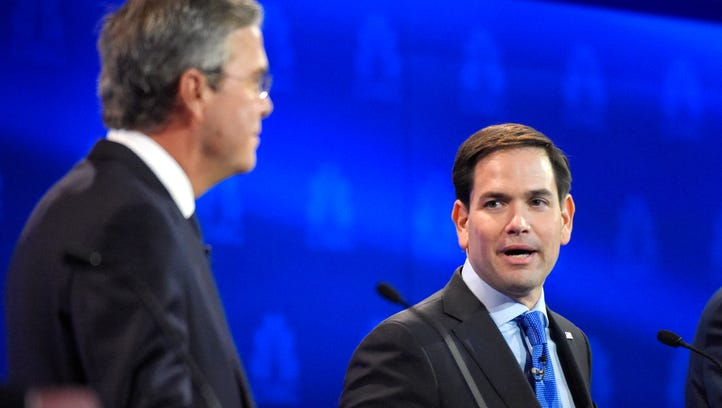 Republican presidential candidate Sen. Marco Rubio (R-Fla.) talks to reporters following a town hall event at the New Hampshire Institute of Politics at St. Anselm College on Feb. 4, 2016 in Manchester, N.H.