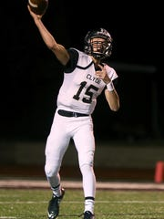Clyde's Tanner Riley throws a pass down field during the Bulldogs' game against the Wall Hawks on Friday.