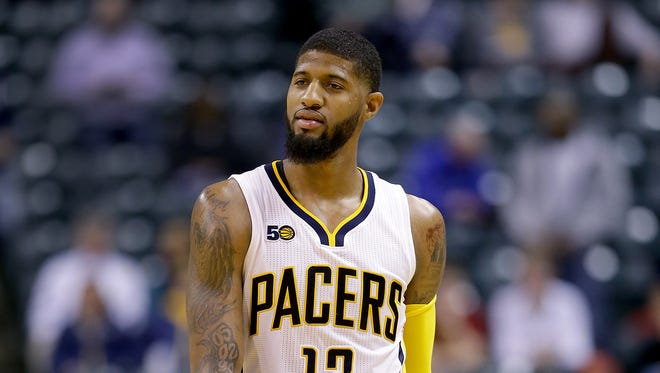 Indiana Pacers forward Paul George (13) argues a call from one of the NBA officials in the second half of their game Thursday, February 16, 2017, evening at at Bankers Life Fieldhouse. The Washington Wizards defeated the Indiana Pacers 111-98.