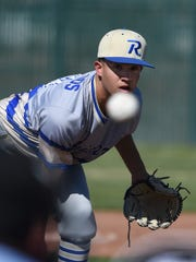 Reed's Jeremy Gallegos pitches against McQueen  Tuesday.
