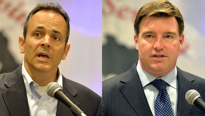 Matt Bevin, left, and Jack Conway appeared together for the first time at an event on Friday, June 19, 2015.