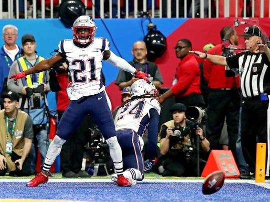 Feb 3, 2019; Atlanta, GA, USA; New England Patriots strong safety Duron Harmon (21) reacts after a defensive play during the fourth quarter against the Los Angeles Rams in Super Bowl LIII at Mercedes-Benz Stadium. Mandatory Credit: Matthew Emmons-USA TODAY Sports