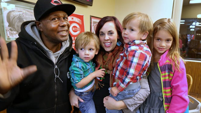 Willie Holley, a 57-year-old who sells Sunday Enquirers, was treated to dinner at Chili Time in St. Bernard Monday by Alysun Ogilby and her three children, Declan, 2, and twins Everett and Charlotte, 5. What started as a $5 gift from Ogilby's Crossroads church to bless someone has turned into so much more.