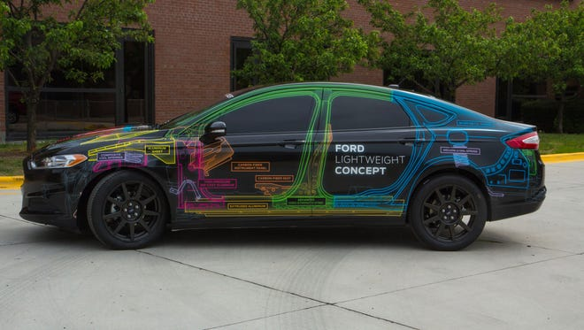 Ford shows off a lightweight version concept of the Fusion.
