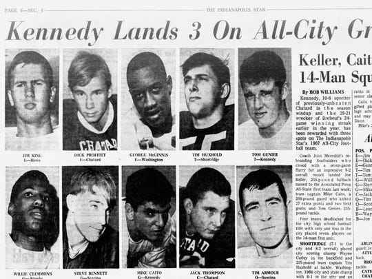George McGinnis, center or top row, was named to the All-City Football Team in 1967.